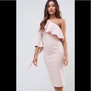 ASOS Mink Blush One Shoulder Ruffle Dress